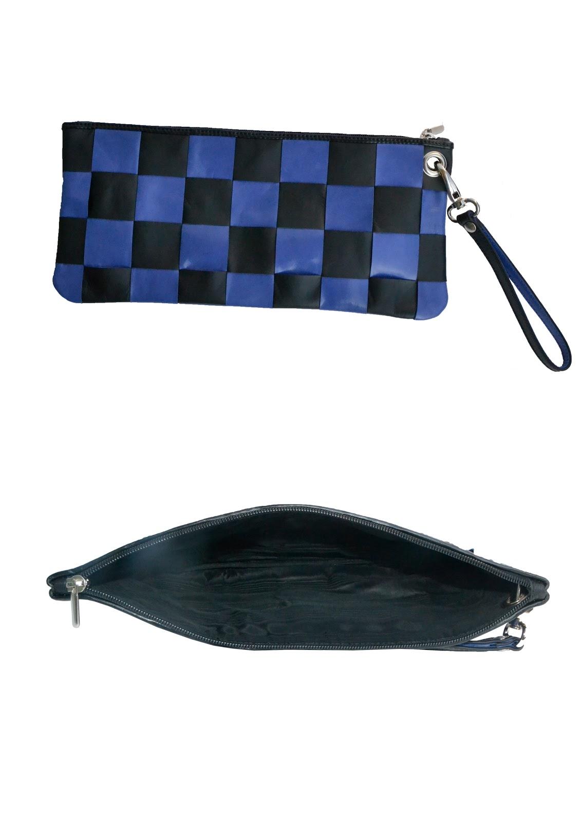 aa4f330099 Andrea Pelleterie Artigianali: Pochette intreccio blu/nero (45x35)