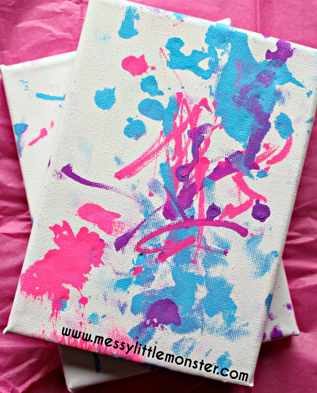Toddler scribble art on a canvas makes a perfect kid made gift. Young children can create an artwork keepsake to be treasured. An easy personalised mothers, fathers or grandparents gift idea.