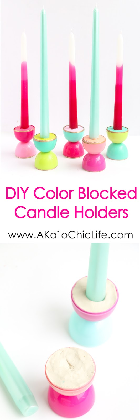 Turn leftover plastic Easter eggs into these colorful, gold rimmed taper candle holders. Perfect for a party, summer nights, or anytime.
