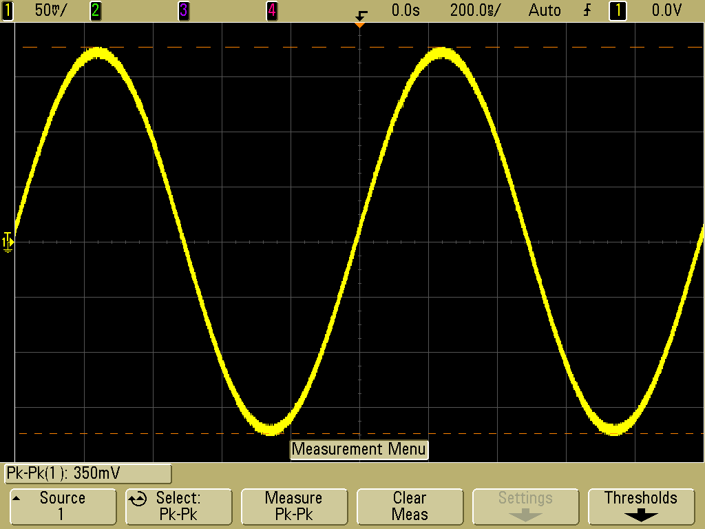 agilent dso6054a showing a 350mv pk pk sine wave at 400mv full scale or 50mv div note the 8 vertical divisions  [ 1024 x 768 Pixel ]