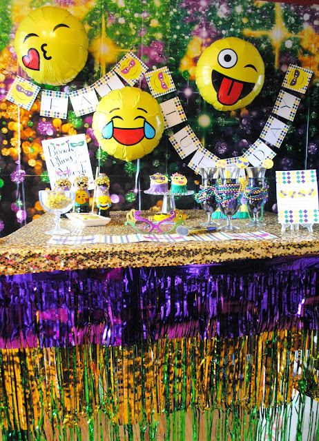 Let the Good Times roll at Fizzy Party's emojinal Mardi Gras party.
