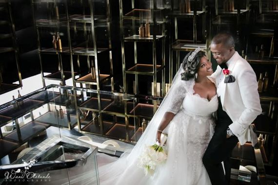 Toolz Oniru and her husband captain Tunde Demuren on their wedding day in dubai
