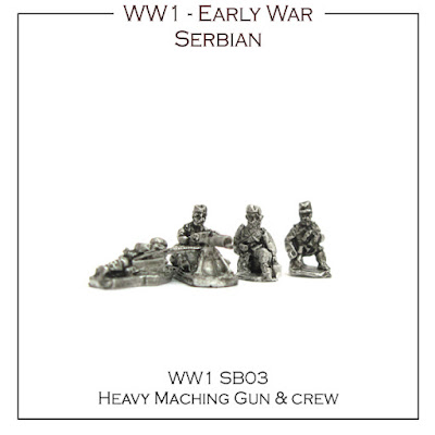 WW1-SB03 Serbian Heavy Machine Gun and Crew - (6 Guns and crews + 6 bases)