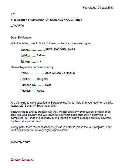 Contoh Surat Izin Suami Visa Simak Gambar Berikut