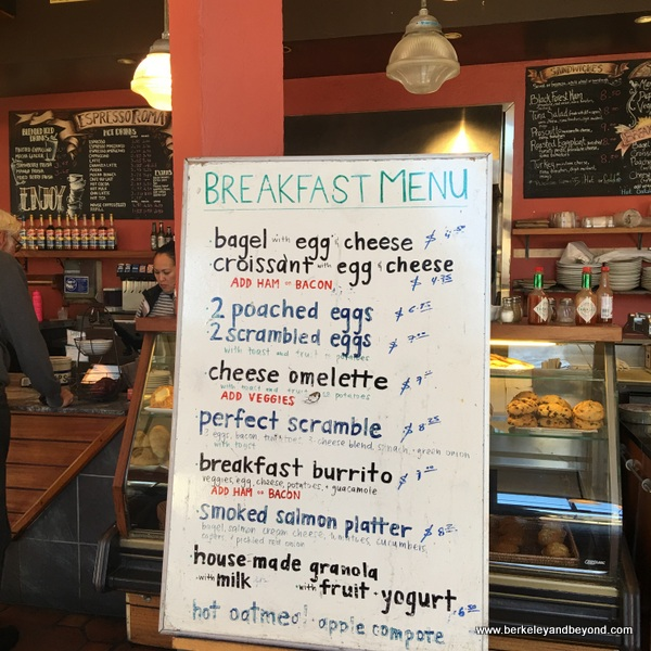 breakfast menu at Espresso Roma in Berkeley, California