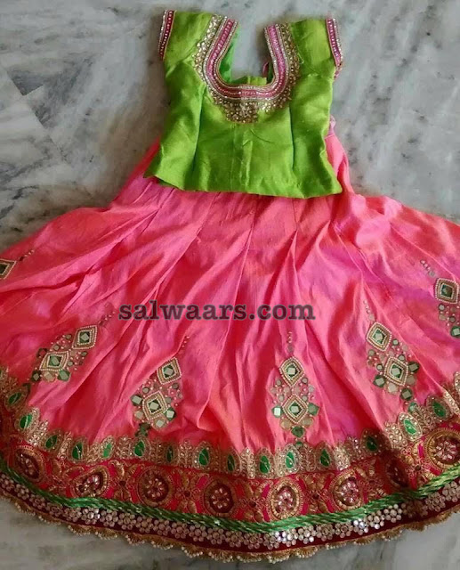 Peach and Green Mirror Lehenga