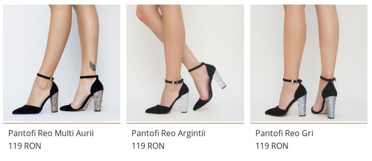 Pantofi eleganti cu toc gros argintiu din piele intoarsa