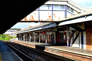 Truro Railway Station footbridge across platforms 1 and 2 containing World War Two German bullet marks