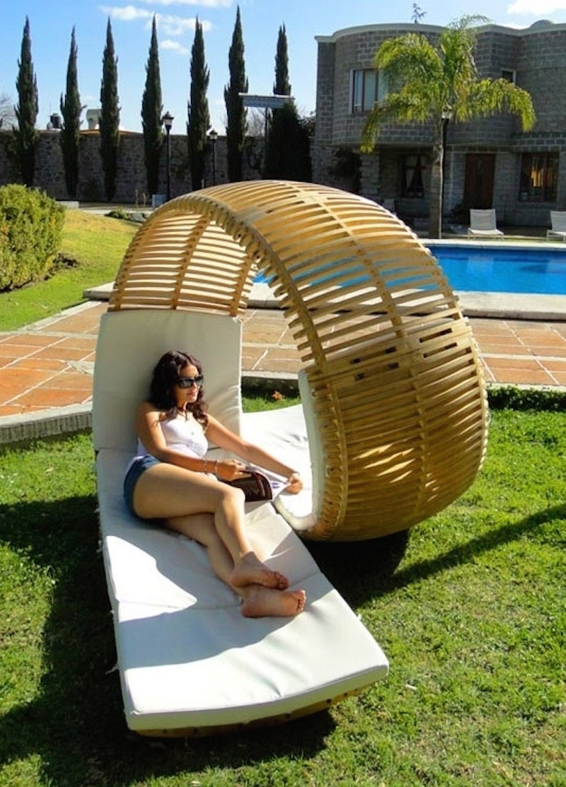 17. Usually, lounge chairs are lined up side by side, making it difficult to communicate with your lounge partners. This neat poolside napping chair solves that problem. 2 people can rest on this, one facing the other. My only question: who gets the side facing the sun? - 21 Places to Take a Nap Straight Out Of Your Fantasies