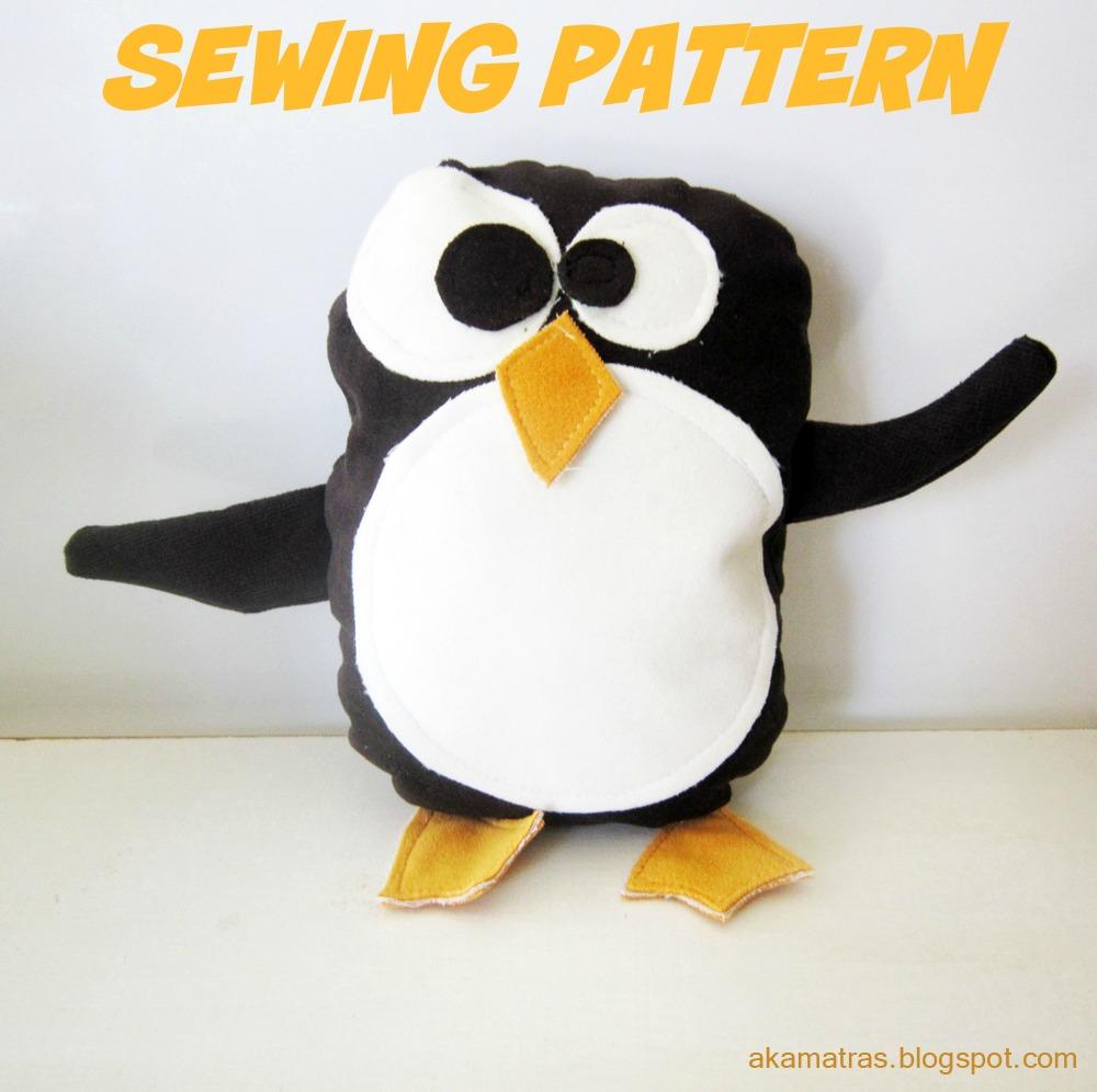 Mr Penguin Stuffed Animal Sewing Pattern Akamatra