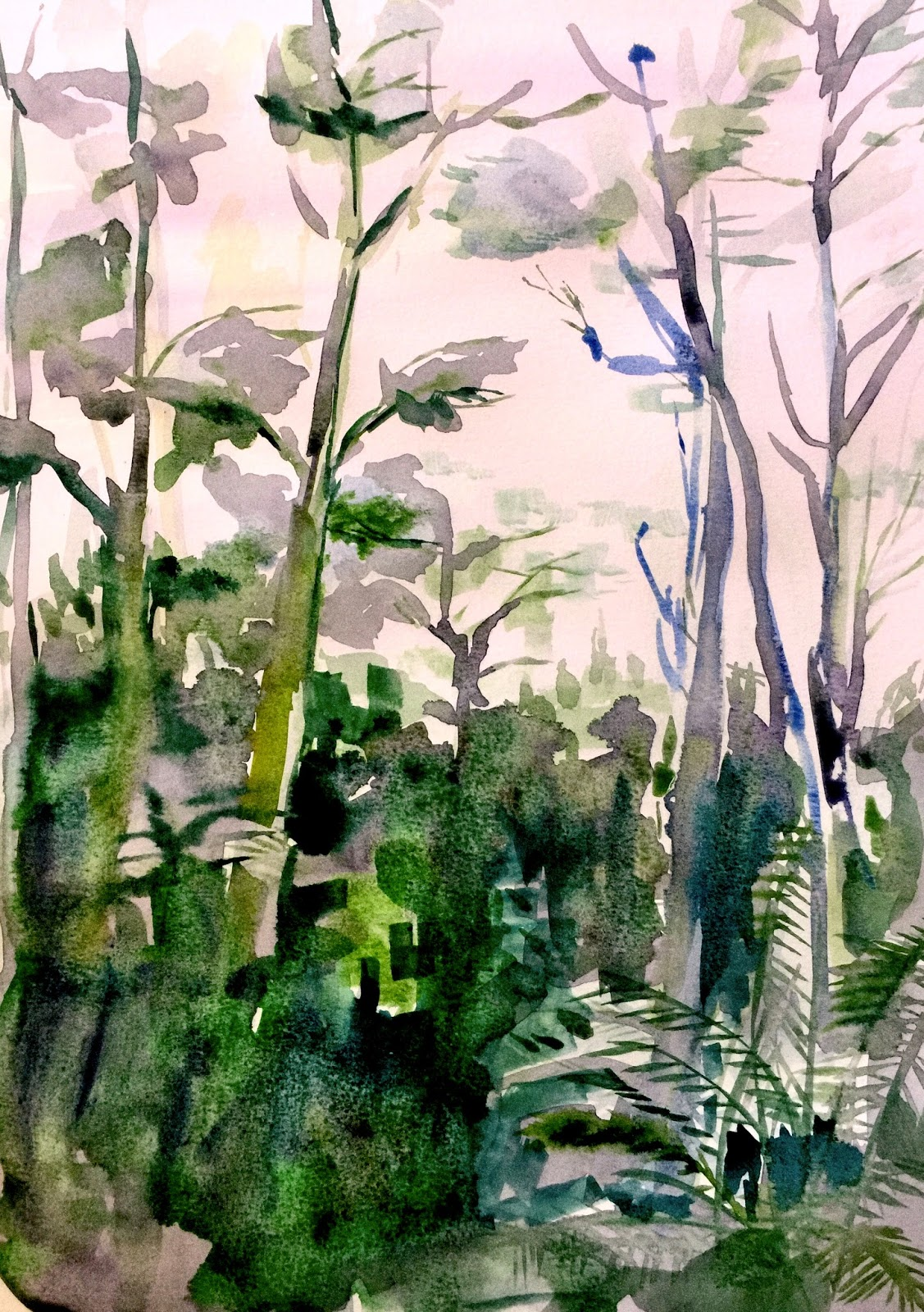 forest watercolour sketch