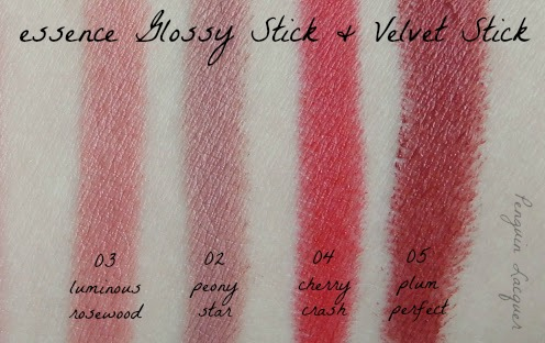essence glossy stick velvet stick swatches