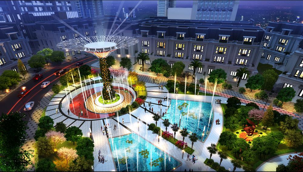 Quảng trường nhạc nước, công viên xanh