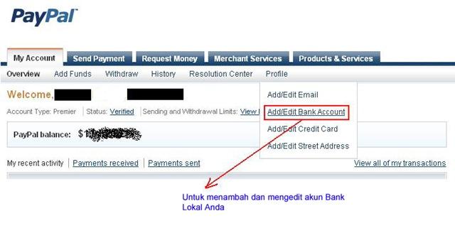 Cara mencairkan Paypal (Withdraw) ke Bank Lokal Indonesia 1