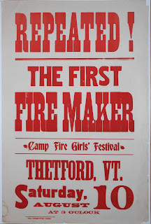 Wood display type poster for Camp Fire Girls Festival in 1912
