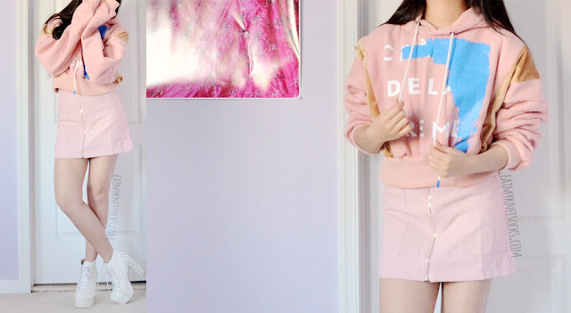Oversized graphic printed velvet panel hooded cropped pastel pink sweatshirt from Romwe