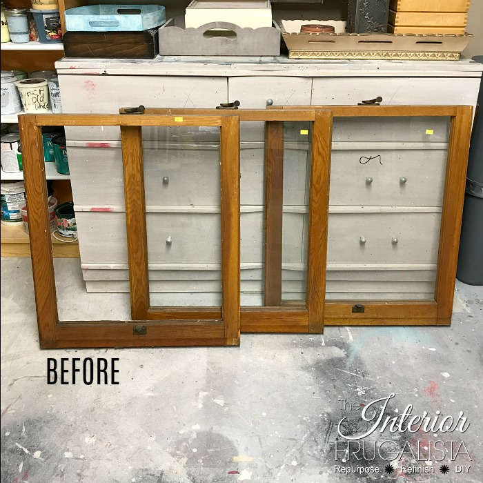 Salvaged Vintage Window Wall Organization BEFORE