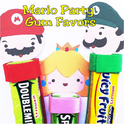 Use this printable to make some unique and fun party favors for your Super Mario birthday party. These gum party favors are unique and feature your favorite characters from the Mario video games. The gum heads include Mario, Luigi, Princess Peach, Yoshi, Goomba, and Koopa Troop  #supermario #gum #partyfavor #diypartymom #videogame #arcade