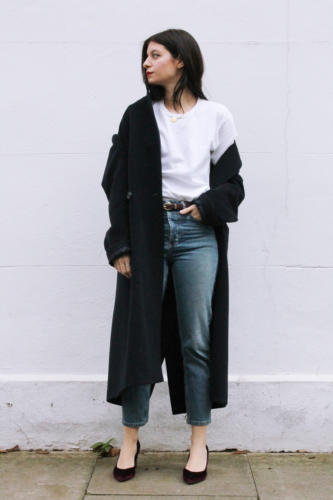 denim, white t shirt, winter outfit, red lips, fashion blogger, london blogger, microinfluencer, guess watch, giveaway, velvet shoes