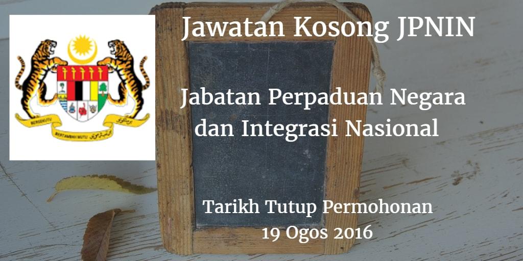Jawatan Kosong JPNIN 19 Ogos 2016