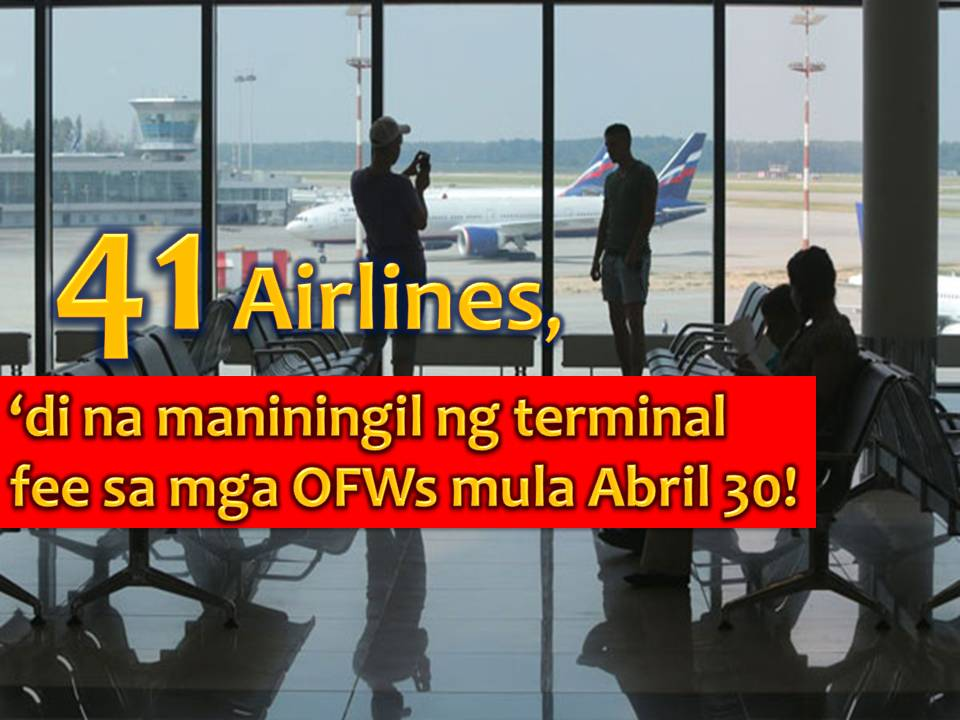 Forty-one airline companies operating in the Philippines have signed a Memorandum of Agreement (MOA) with Manila International Airport Authority (MIAA), Wednesday, March 15, 2017, to totally abolished terminal fees paid by Overseas Filipino Workers (OFWs).  Speaking of the event is Transportation Secretary Art Tugade who relay the message of President Rodrigo Duterte to OFWs and also to airline companies.  Tugade said scrapping terminal fee is a big help to OFWs. Also, this will manifest President Duterte's love and concern to our modern day heroes.