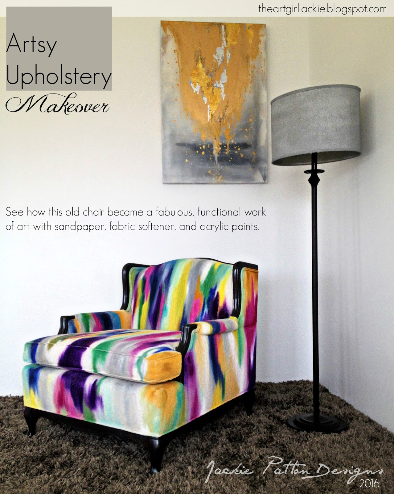 The Art Girl Jackie: Artsy Upholstery Makeover: The ...