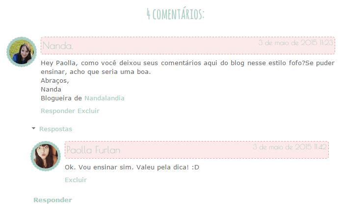 Área de comentários do blog personalizada