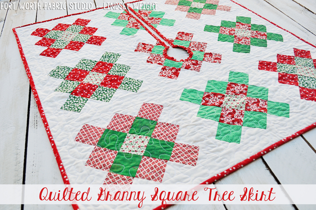 Fort Worth Fabric Studio Granny Square Quilted Tree Skirt Pillow