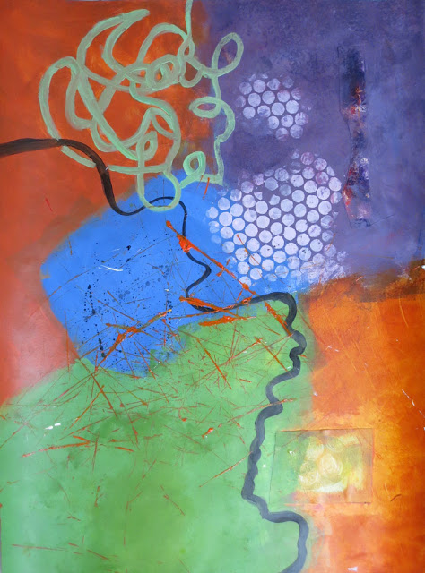 Abstract painting in process