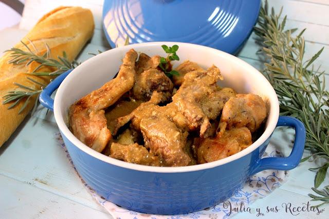 Conejo en salsa de almendras. Julia y sus recetas