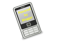"Picture of a cellphone with ""Powered by Blogger"" taking up screen space"