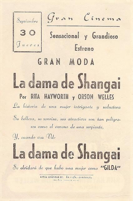 Programa de Cine - La Dama de Shanghai - Orson Welles - Rita Hayworth
