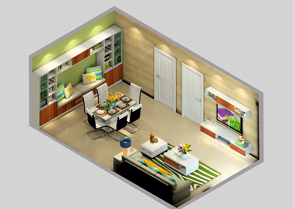 Small-house-living-dining-room-layout 35 Sky View 4D American House Plan Styles Interior
