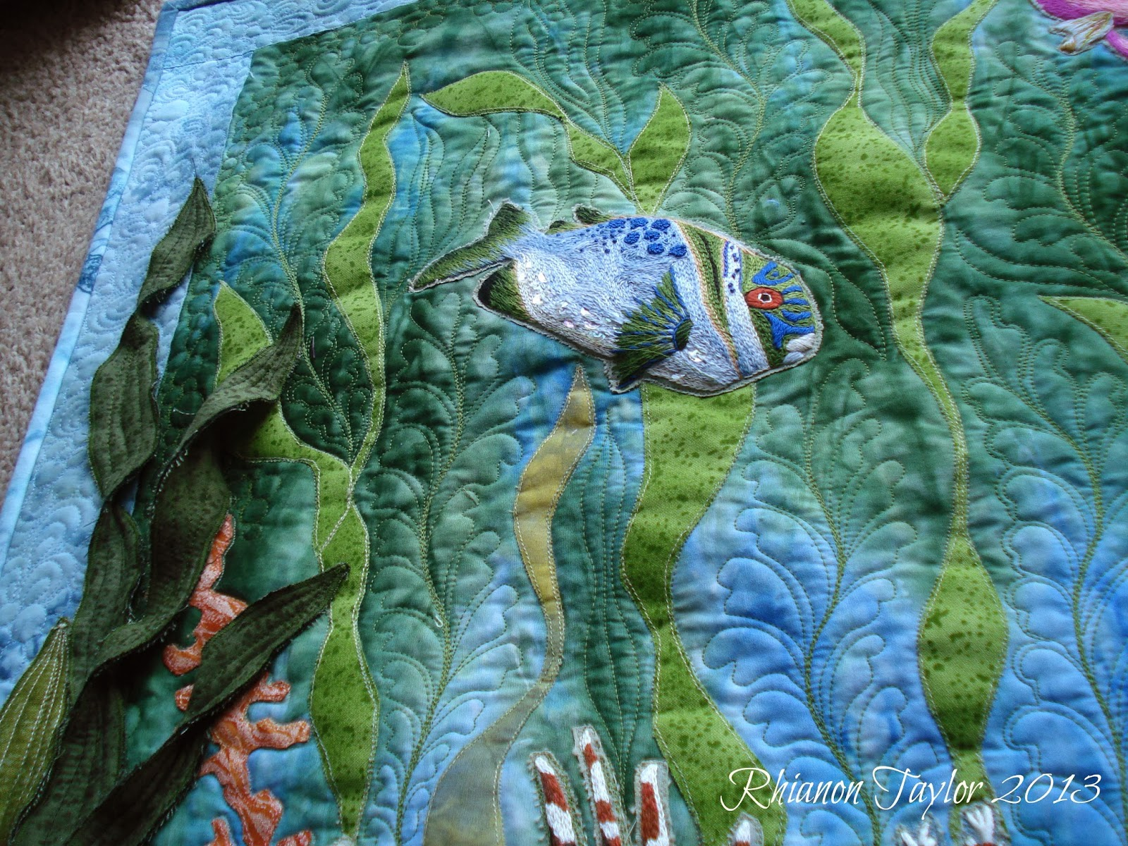 The Nifty Stitcher Hand Embroidered Tropical Fish Wall