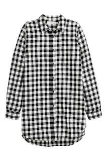 długa koszula w czarno-białą kratkę z h&m