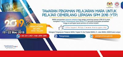 Permohonan Pinjaman Pelajaran MARA 2019 (YTP) Lepasan SPM