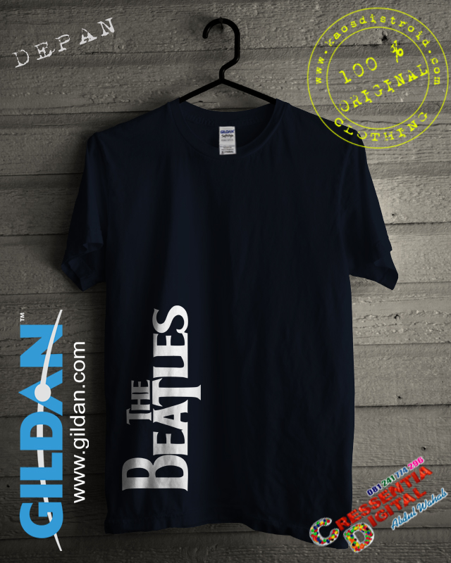 Kaos GILDAN The Beatles Warna Biru Dongker