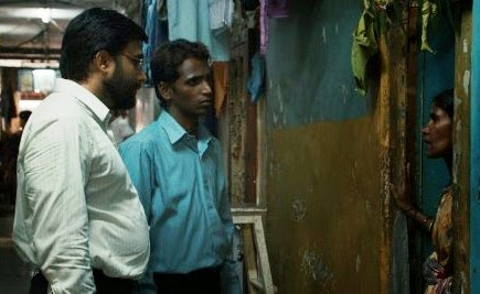 Vinay Vora and Subodh visit the local slum, in Court, Directed by Chaitanya Tamhane