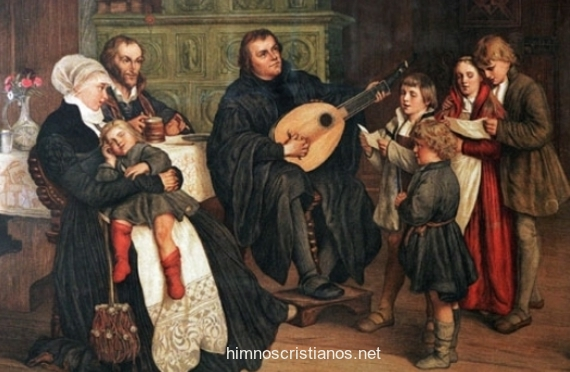 Lutero cantando y tocando el laúd junto a su familia.