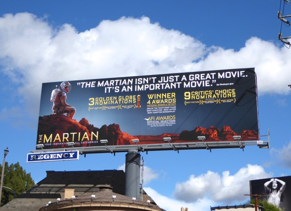The Martian Awards nominations billboard