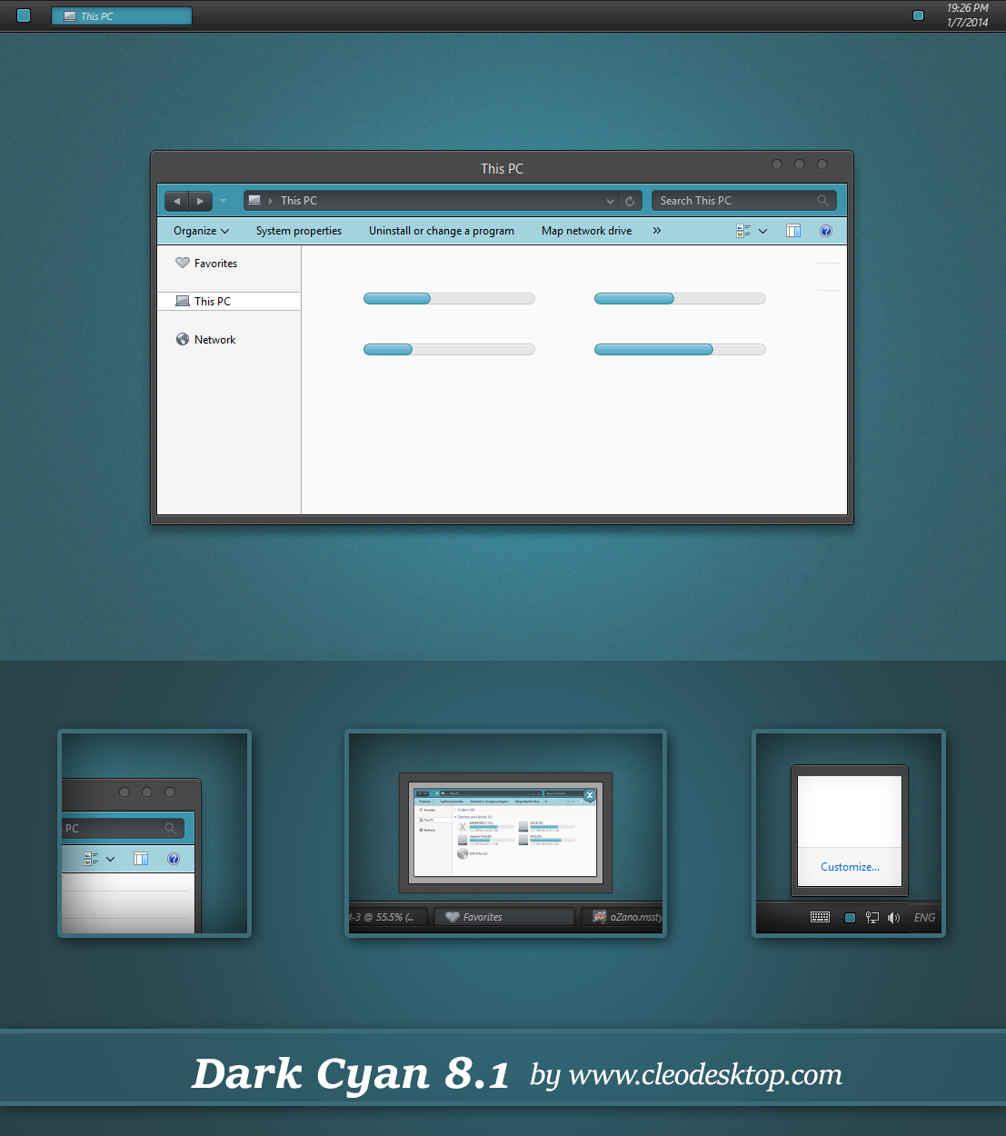 Dark Cyan Theme Windows 8.1