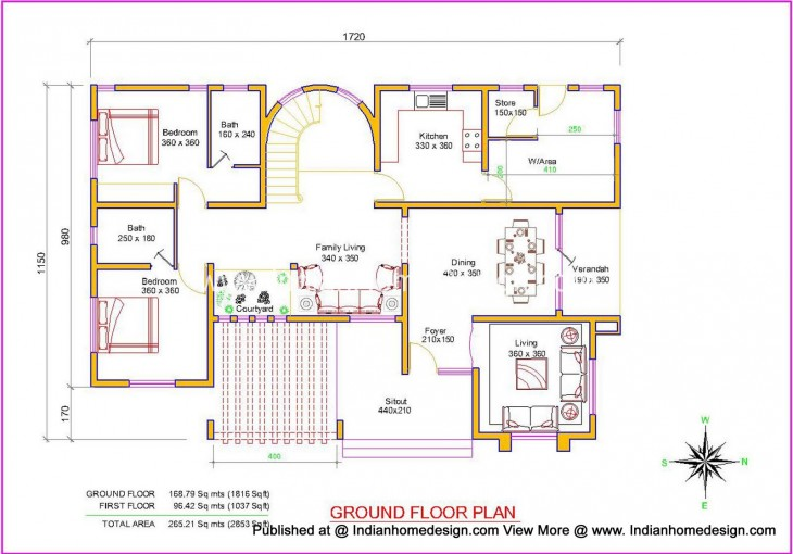 villa design plan and elevation of 2853 sq ft independent