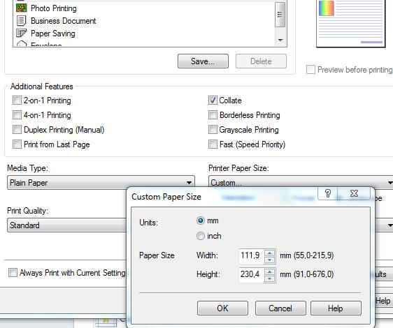 pengaturan printer untuk print kop surat ke amplop