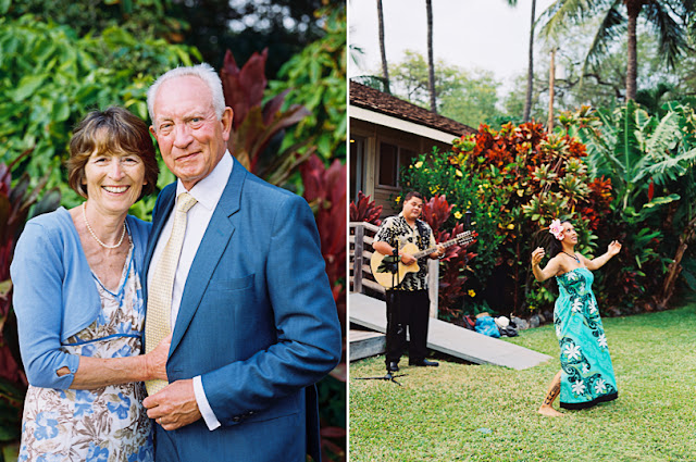 maui wedding guests and luau dancer