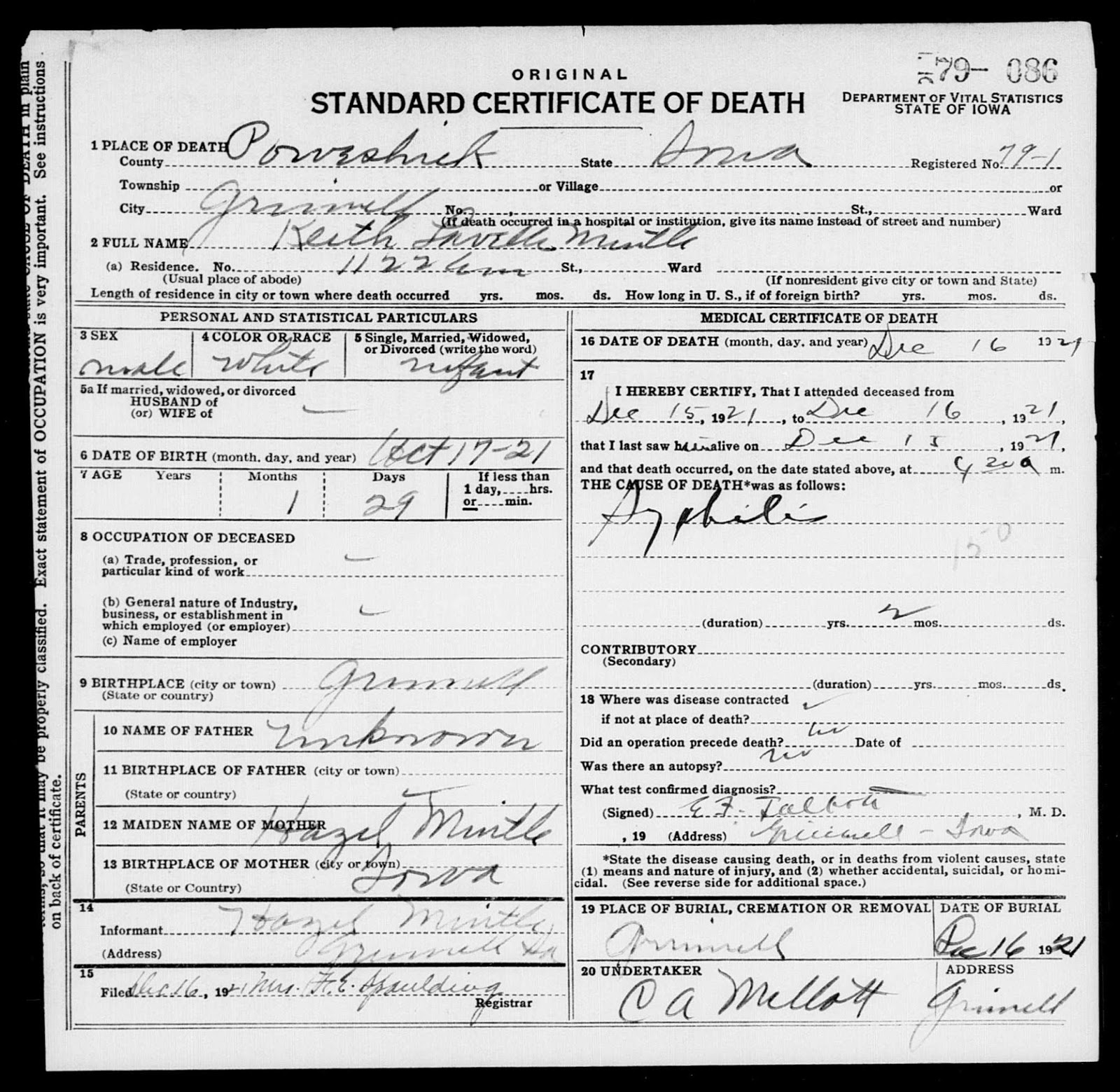 Grinnell stories illegitimacy and abortion in 1920s 1930s grinnell 1921 death certificate of keith lavelle mintle 1921 1921 aiddatafo Images