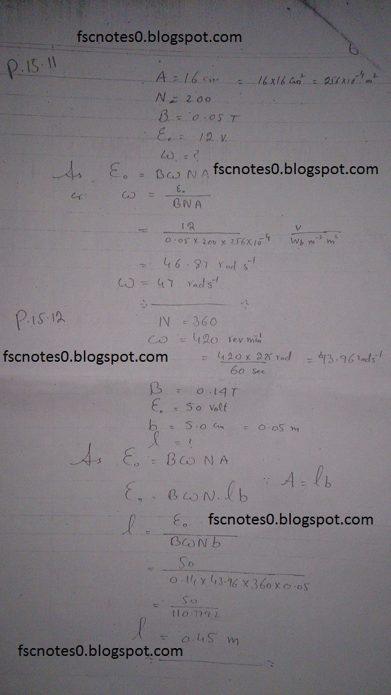 F.Sc ICS Notes: Physics XII: Chapter 15 Electromagnetic Induction Numerical Problems Asad Hussain 5