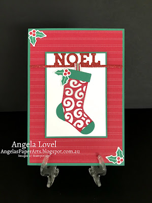 Stampin' Up! Hang Your Stocking card by Angela Lovel, Angela's PaperArts
