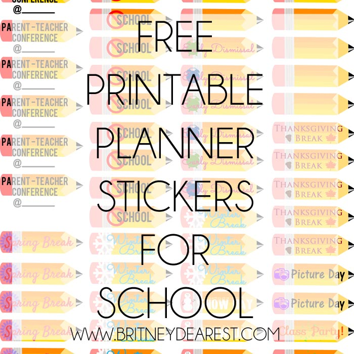 Britney Dearest: Free Printable | Planner Stickers for School
