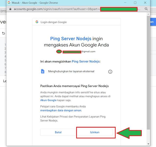 tombol notif tinjau izin google script