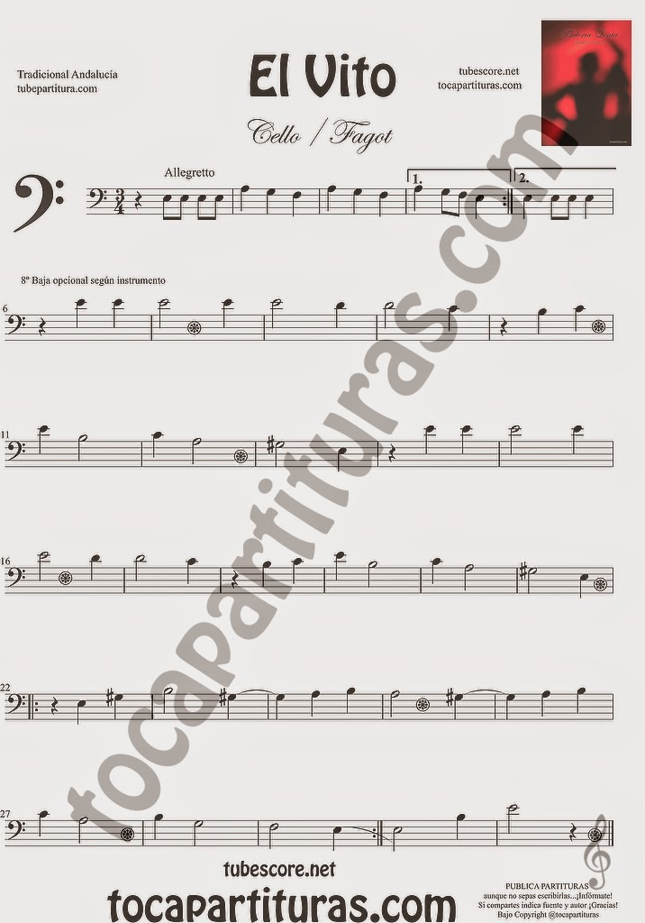 El Vito Partitura de Violonchelo y Fagot Sheet Music for Cello and Bassoon Music Scores